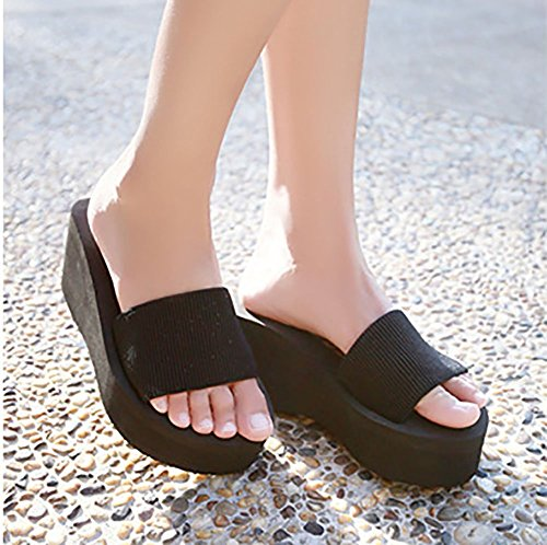Sfnld Womens Casual Summer Slide Slippers Platform Wedge Heel Beach Sandals Black BI7ZzF3q