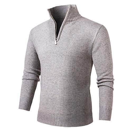 (NALANION Mens Casual Wool Blend Pullover Sweaters 1/4 Zip Collar Knitted Sweater (Medium Grey, L) )