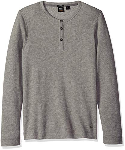 BOSS Orange Men's Trix Henley Waffle Long Sleeve Tee, Light/Pastel Grey, - Henley Waffle