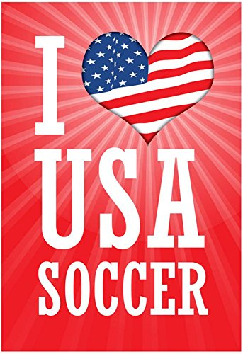 Laminated I Love USA Soccer World Cup, Red Sports Poster Print