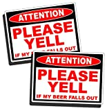 funny beer cooler - Funny Warning Sticker - Attention Beer Fall Out Caution Drink Drinking Party Vinyl Decal for Car Truck Vehicle