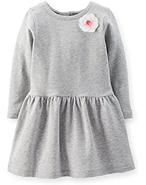 Little Girls French Terry Rosette Dress (5T, Grey)