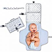 Diaper Changing Pad - Portable Baby Changing Station -Wipeable and Waterproof - Clutch & Foldable Changing Mat - Great Baby Shower Present - Pads fit Infant, Newborn or Toddler - Bonus Free Gift