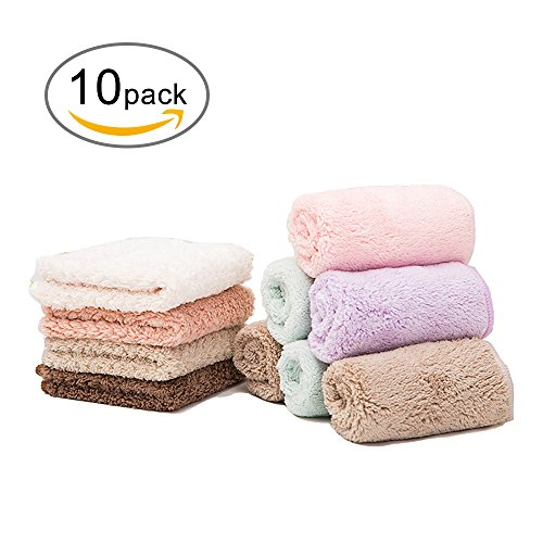 VOMONO Kitchen Dish Towels, Dish Cloths 10 Pack Super Water Absorption Kitchen Cleaning Cloths Coral Fleece Random Color 7.87 Inch (10 (Fleece Towels)