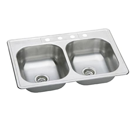 Elkay HD114658 Neptune Top Mount 33x22x7 4-Hole Double Bowl ...