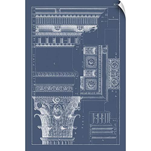 (CANVAS ON DEMAND Column, Cornice Blueprint III Wall Peel Art Print, 32