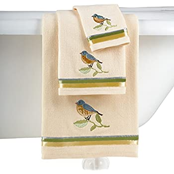 Collections Etc Colorful Embroidered Birds And Blooms Bathroom Towel Set - Includes Bath Towel, Hand Towel, and Washcloth