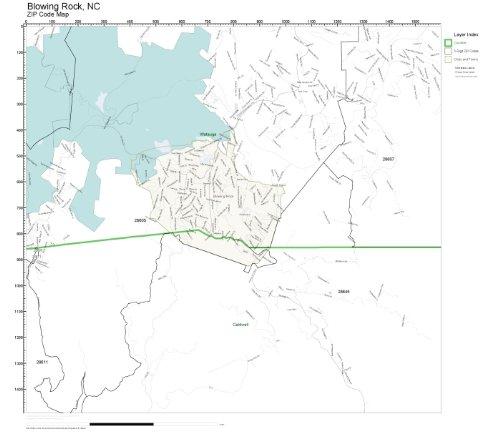 ZIP Code Wall Map of Blowing Rock, NC ZIP Code Map - Rock Blowing Nc Of City