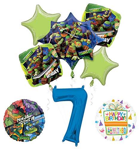 Teenage Mutant Ninja Turtles 7th Birthday Party Supplies and TMNT Balloon Bouquet Decorations ()
