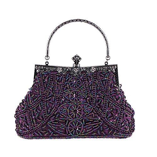 Champagne Sequin Vintage Stylish Handbags Color Rabbit Lovely Purple Beaded Evening Women's q7RXnU