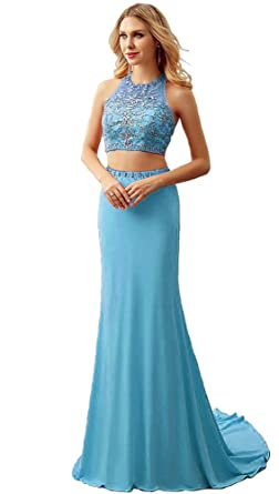 AIJIAYI Womens 2 Pieces Crystals Mermaid Prom Dresses Halter Evening Party Gown Formal Long WJ1818