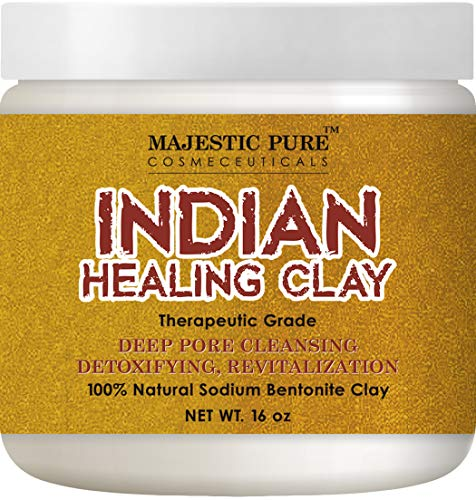 (Majestic Pure Indian Healing Clay Powder, Deep Pore Cleansing Facial, Body and Hair Mask, Natural Sodium Bentonite Clay, 16oz)