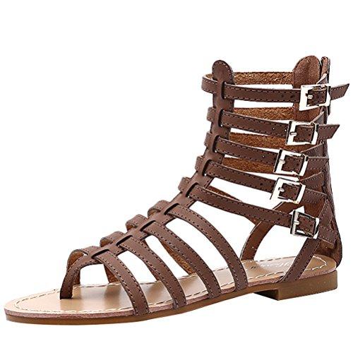 Vogstyle Mujeres Verano Sandalias Peep Toe Zapatos ZY009 Estilo 1-Marrón