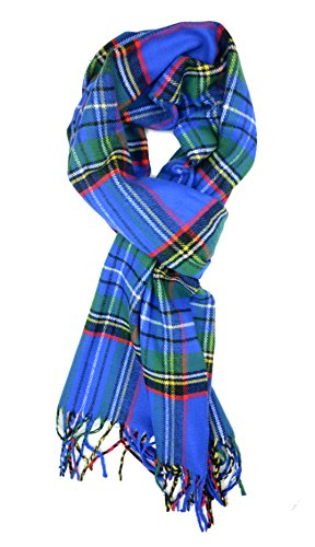 Plum Feathers Super Soft Luxurious Cashmere Feel Winter Scarf (Bright Blue Tartan Plaid)