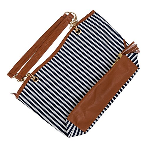 Sodial (r) New Fashion Design A Righe Donna Chiusura A Spalla Singola Borsa Tote Bag - Blu