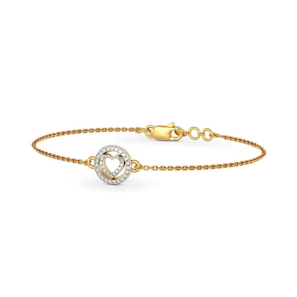 identification-bracelets Size IJ| SI 7.5 inches 0.154 cttw Round-Cut-Diamond 18K Yellow Gold