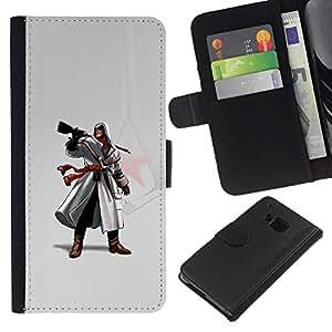 NEECELL GIFT forCITY // Billetera de cuero Caso Cubierta de protección Carcasa / Leather Wallet Case for HTC One M7 // Assassin Pistola