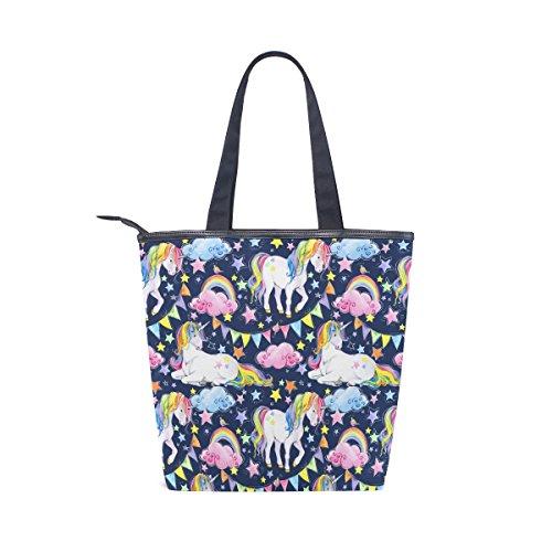 Rainbow Womens Tote MyDaily Unicorn Shoulder Canvas Bag Handbag Star XxOXwFzqSA