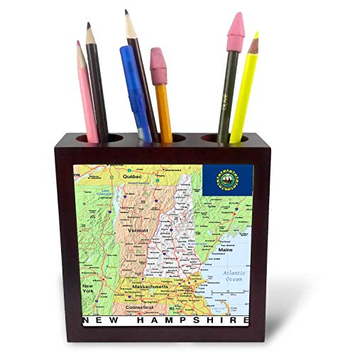 (3dRose Lens Art by Florene - Topo Maps, Flags of States - Image of New Hampshire Topographic Map with Flag - 5 inch Tile Pen Holder (ph_291414_1))