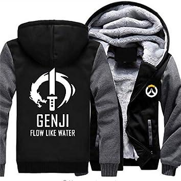 メンズフーディーフルジッパープリントGENJlFLOW LIKE WATERベルベットパッド入りフード付きセーターコートフリースフーディー、冬に最適