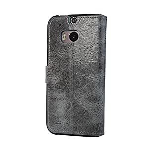 Bouletta Leather Phone Case for HTC One M8 [WalletCase Vessel Gray]