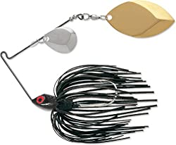 Terminator Super Stainless Spinnerbait-coloradooklahoma, Nickelgold Blade (Black Red Flake, 38-ounce)