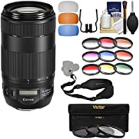 Canon EF 70-300mm f/4-5.6 IS II USM Zoom Lens with 3 UV/CPL/ND8 & 9 Color Filters + Sling Strap + Flash Diffusers + Kit