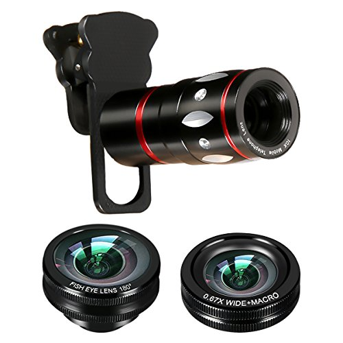 M.Way 4 in 1 10x Zoom Telephoto + Fish Eye + Wide...
