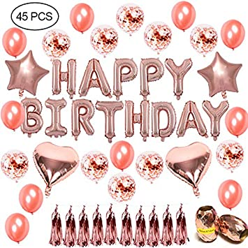 45 Pcs Rose Gold Birthday Party Decoration Set 16 Inch Happy Bithday Foil Balloons