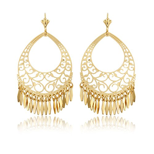 18K Gold Plated Gold Filigree Cut-out Dangling (Gold Plated Cut Out)
