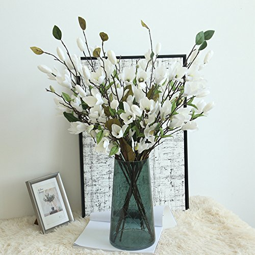 Chocolate Silk Shade Table Lamp - Gotian Artificial Fake Flowers Leaf Magnolia Floral Wedding Bouquet Party Home Decor - Wedding Party, Your Home and Garden,Office,Coffee House (White)