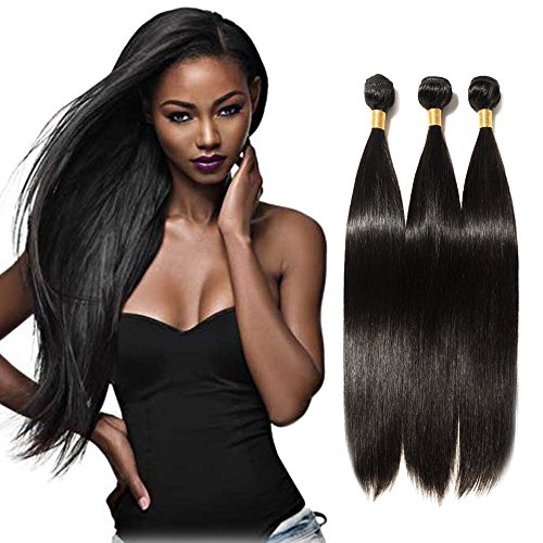 6A Unprocessed Virgin Brazilian Remy Human Hair Weave Extensions Long Silky Straight 16'' with Baby Hair Natural Black #1B 1 - Price Usps Next Day