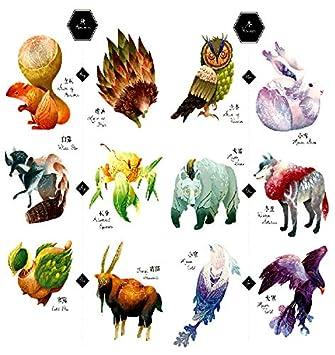2b58a4555 Amazon.com : Oottati 2018 Temporary Tattoos 3D Stickers 2 Sheets 24 Solar  Terms Squirrel Hedgehog Owl Eagle Wolf Bear : Beauty