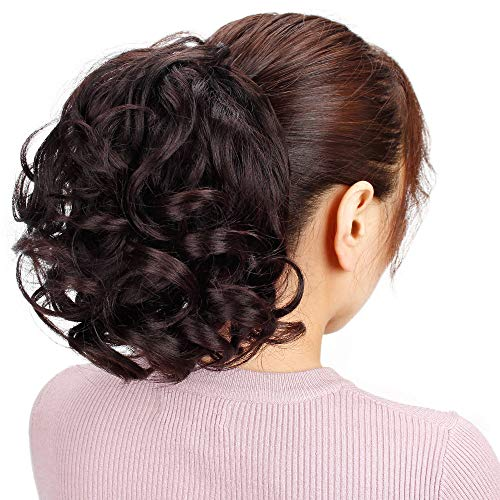 (Vigorous ShortCurly Wavy Ponytail Extension Synthetic Natural Color Hair Drawstring Ponytail Hairpieces for Women, 8 Inches(4#))