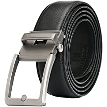 Full Grain Leather Ratchet Belt for Men with Nickel Free Click Buckle Presented in a Gift Box–Trim To Comfort Fit and Adjustable Dress