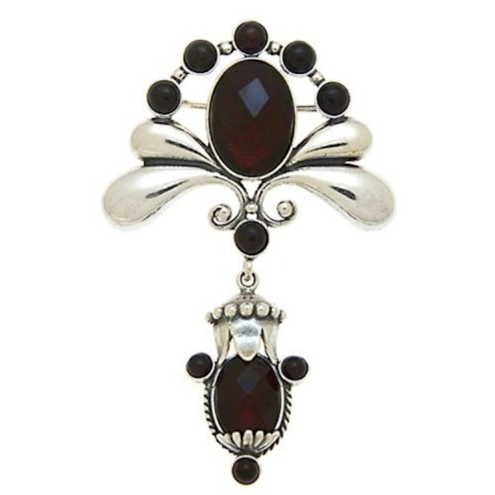 Cherry Amber Sterling Silver Queen's Collection Faceted Pin