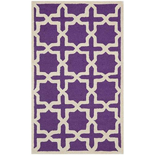 Safavieh Cambridge Collection CAM125K Handmade Moroccan Geometric Purple and Ivory Premium Wool Area Rug (2' x 3') (2x3 Purple Rug)