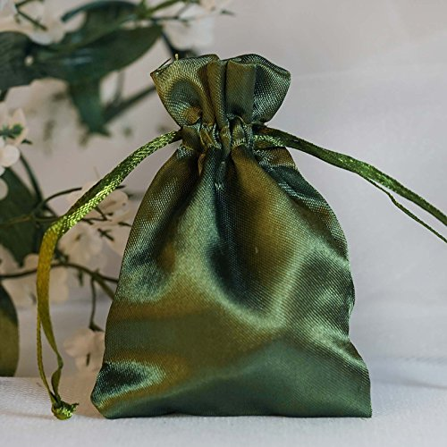 - BalsaCircle 60 pcs 3x3.5-Inch Willow Green Satin Drawstring Bags - Wedding Party Favors Jewelry Pouch Candy Gift Bags