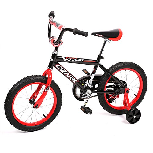 Ozark Challenger, BMX Freestyle Kids Bike, Boy's Bikes and Girl's Boy's Bikes with training wheels, Gifts for children, 16 inch wheels, (Black/Red)