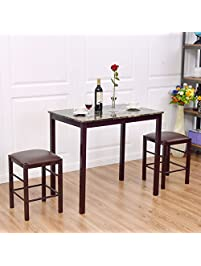 Giantex 3 PCS Table Set Faux Marble Counter Home Kitchen Bar Dining Table  With 2 Stools