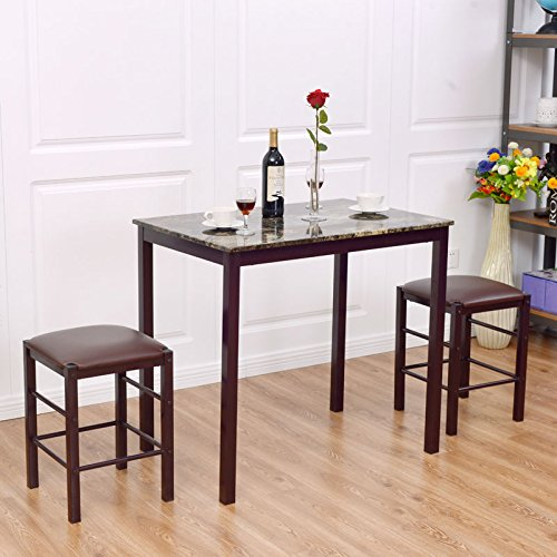 Giantex 3 PCS Table Set Faux Marble Counter Home Kitchen Bar Dining Table with 2 Stools(Red Brown)