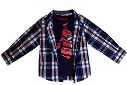 Healthtex Blue Plaid Shirt Set (3T)