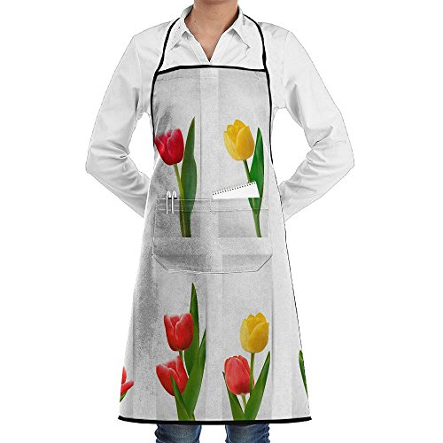 SmallTing Set Of Banners With Pink Flower Raster Version Classic Servers Black One Size Apron With Pockets Adjustable