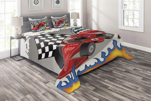 Lunarable Cars Coverlet Set King Size, Race Car with Finish Line Flags Pilot and Flames with Abstract Gray Background Print, 3 Piece Decorative Quilted Bedspread Set with 2 Pillow Shams, Multicolor