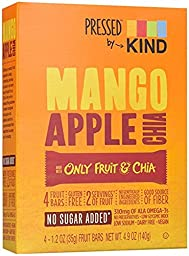 KIND Pressed by Bars Mango Apple Chia Bars 4.8oz(1.2 Ozx4) one box
