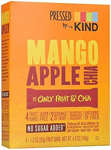 KIND Pressed by Bars Mango Apple Chia Bars 4.8oz(1.2 Ozx4) one box