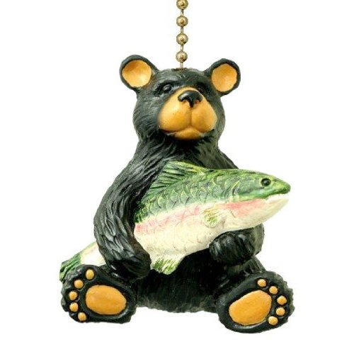 (Black Bear with Bass Lodge Cabin Ceiling Fan Pull Lamp Ornament)