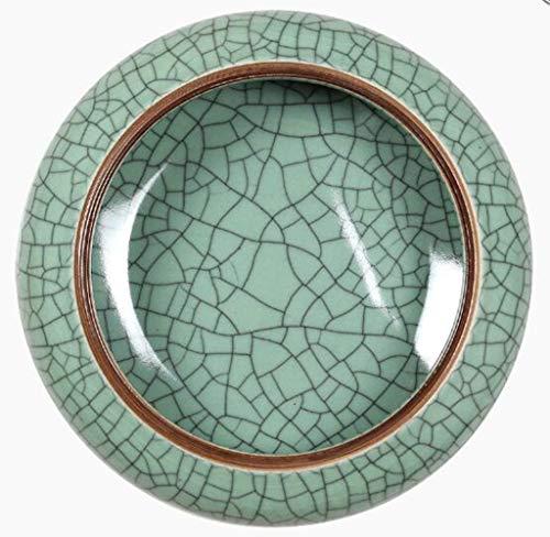 YAN^HUI^GANG Ashtray Ceramic Ashtray Melon Shell Garbage Cylinder Pen Wash Antique Narcissus Pot, Green, 16×7.5Cm ()