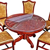 #2: Large Clear Round Dining Table Protector Wood Furniture Tabletop Protective Cover Clear Plastic Tablecloth Round Glass Desk Topper Chair Cursions Mat Pads Eco Polyester PVC Vinyl 48 Inch Diameter 4ft