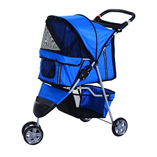 PawHut Buggy für Hunde / Katzen Pet Stroller 3 Räder inklusive Becherhalter, blau